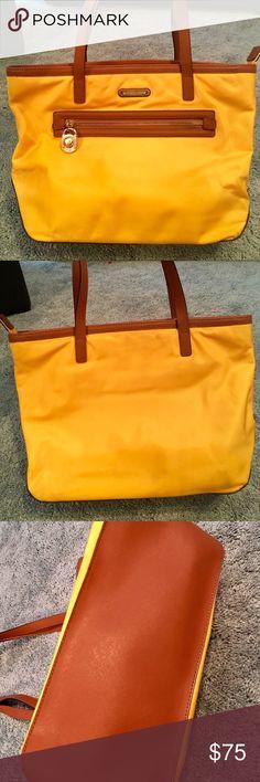 38492d439b9f Michael Kors Kempton Yellow Nylon Tote Beautiful Sunflower yellow Michael  Kors 100% Authentic Nylon Handbag