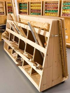 like how this sorts your short stock. wood storage on wheels Lumber Storage Rack, Plywood Storage, Lumber Rack, Garage Storage, Record Storage, Tool Storage, Woodworking Workshop, Woodworking Shop, Woodworking Plans