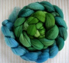 BFL Hand Dyed Combed Top 5 Oz. Green to Blue 4  by FriendsinFiber, $18.75