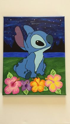 DIY Stitch painting from Lilo & Stitch. - New Ideas DIY Stitch painting from Lilo & Stitch. DIY Stitch painting from Lilo & Stitch. Disney Canvas Paintings, Disney Canvas Art, Simple Canvas Paintings, Easy Canvas Art, Small Canvas Art, Cute Paintings, Mini Canvas Art, Diy Canvas, Painting Canvas