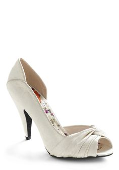All Ivories on Shoe Heel - White, Solid, Special Occasion, Prom, Wedding, Party, Spring, Summer, Pinup, Graduation