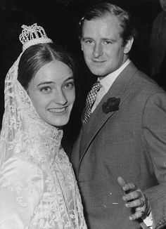 Loulou de la Falaise in 1966 at her wedding to first husband Desmond FitzGerald, the Knight of Glin