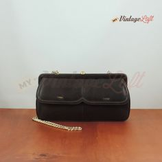 70s Vintage brown clutch with coin purse