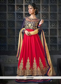 Astounding Red Embroidered Floor Length Anarkali suit