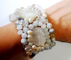 Beaded cuff bracelet with Quartz Botswana agate by moonstonejewels