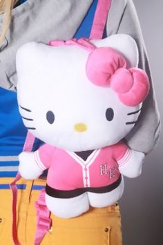 Hello Kitty Varsity Jersey Plush Backpack ** Visit the image link more details. Note:It is affiliate link to Amazon.