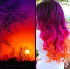 Sunset Hair - Hair And Beauty Cute Hair Colors, Beautiful Hair Color, Hair Dye Colors, Cool Hair Color, Rainbow Hair Colors, Beautiful Sunset, Bright Hair Colors, Ombre Hair Color, Purple Hair