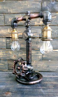 Pipe Lighting, Rustic Lighting, Industrial Lighting, Vintage Industrial Furniture, Industrial Table, Lampe Steampunk, Metallic Epoxy Floor, Pipe Decor, Diy Pipe