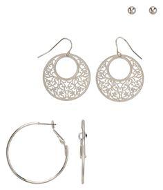 Stud & Hoops Earrings 3-Pack