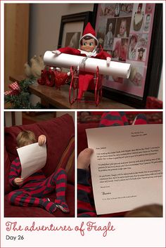 Elf on the shelf holding a letter, very clever!  there are several great ideas here.