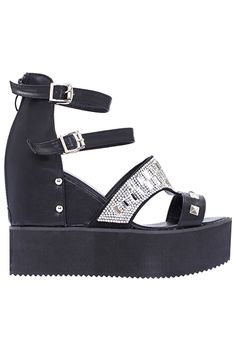 Shop ROMWE Diamante Black Vinyl Platform Sandals at ROMWE, discover more fashion styles online. Latest Street Fashion, Halloween Town, Romwe, Fashion Photography, Platform, Street Style, Sandals, My Style, Women's Shoes
