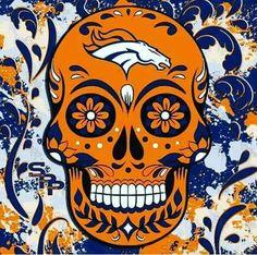 Broncos sugar skull