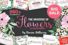 THE UNIVERSE OF FLOWERS by Daria Bilberry on @creativemarket