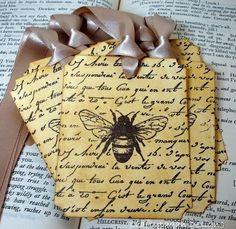 vintage bee tags