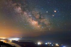 Milkyway above lagoon Korission Milkyway above lagoon Korission Night landscape with our galaxy, Milkyway, above the Natura area of lagoon. Cedar Forest, Milky Way, Astronomy, Northern Lights, Scorpion, Canon Eos, Constellation, Night, Beach
