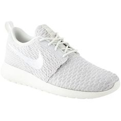 Nike Roshe One Flyknit Trainers ($150) ❤ liked on Polyvore featuring shoes, sneakers, waffle trainer, grip trainer, perforated sneakers, white flyknit trainer and lightweight shoes