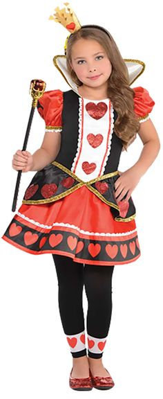 Girls Glittery Queen Of Hearts Alice In Wonderland Fancy Dress Costume.  Perfect Character Outfit For