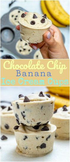 "Chocolate Chip Banana ""Ice Cream"" Cups for Summertime Fun! Healthy Chocolate Chip Banana ""Ice Cream"" Cups for Summertime Fun! - Clean Food CrushHealthy Chocolate Chip Banana ""Ice Cream"" Cups for Summertime Fun! Delicious Desserts, Dessert Recipes, Yummy Food, Yummy Easy Snacks, Snacks Recipes, Fast Recipes, Health Recipes, Crockpot Recipes, Granola"