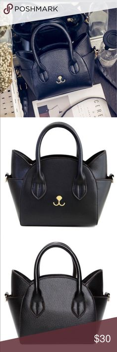 Cute Black Kitten face Tote Bag. Cute Cat Shape and Solid Color Design Tote Bag For Women Handbag Type: Totes  Style: Fashion  Gender: For Women  Pattern Type: Solid  Handbag Size: Mini(<20cm)  Closure Type: Zipper  Interior: Interior Zipper Pocket  Occasion: Versatile  Main Material: PU  Weight: 0.546kg  Size(CM)(L*W*H): 27*10*18.5  Strap Length: Short:7.5CM,Long:60-120CM (Adjustable)  Package Contents: 1 x Tote Bag ohsojazzy Bags Satchels