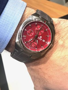 "Just in time for Memorial Day, we go hands on with a beautiful watch that will put you in the ""Red"" mood of red/white and blue: Tutima Saxon One Chronograph. Beautiful Watches, Wrist Watches, Memorial Day, Omega Watch, Chronograph, Red And White, German, Mood, Blue"