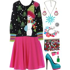 Tacky Holiday Sweater Party, created by azurafae on Polyvore