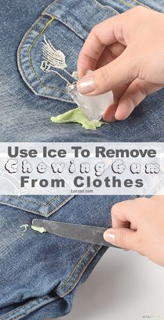 The idea is to get the gum as cold as possible. This hardens it and makes it easier to just scrape off. This trick also works for furniture and hair. Good to know!