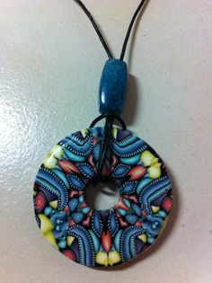 Polymer Clay Washer Necklace  Blue Yellow Peach Black by Risagl, $10.00