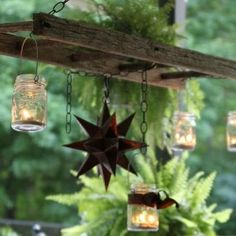 traditional patio Hanging Ladder Lantern Chandelier for the Patio - old ladder & mason jars repurposed Do It Yourself Ikea, Do It Yourself Design, Bottles And Jars, Mason Jars, Canning Jars, Glass Jars, Pots Mason, Lantern Chandelier, Outdoor Chandelier