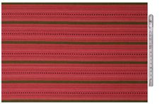 Skirt material, woven with raspberry pink, green, white and black wool on cotton warp, for the Hartola (East Tavastia) costume