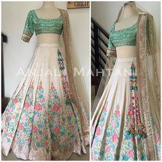 Pastels and Creams- Hand embroidered threadwork Lehenga with Gotha Pati work on blouse. #lehenga #anarkali #gold #croptop #wedding #indianwedding #formals #allthingsbridal #bridal_dreams #asianbrides #asianweddings #fashion #indianbride #desiwedding #desichic #desi_couture #couture #anjalimahtanicouture #anjalimahtanioriginals #jakartadesigner #shaadi #shaadi_bazaar #desifashion #allnew #fashion2016 #beautiful_lehengas #ivory #gaunpesta #jktdesigner #indiandeaigner #wedding #shaadi