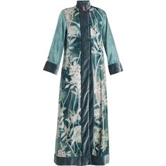 F.R.S  For Restless Sleepers Euribia Ramage floral-print lace-up silk... (34,190 MXN) ❤ liked on Polyvore featuring intimates, robes, blue multi, floral kimono, formal kimono, floral silk robe, print kimono and floral kimono robe