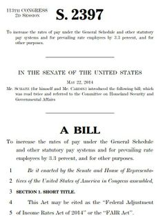 Senate bill, Federal Adjustment of Income Rates Act of 2014, giving federal employees a 3.3% pay raise in 2015.