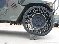 Airless tyres on a Humvee. Surely the future for all cars within a few years...