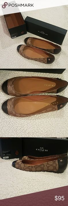 ⏰2 DAYS LEFT⏰ Coach Brown Chelsea Flats Size 7.5 MUST GO!!! New in box classic black - smoke/black coach flats. Luxurious leather and synthetic upper. Decorative hardware and cap toe design. Man mainlining and lightly cushioned footbed.   *Pet and smoke-free home! I often adjust my price during Posh parties and promos, keep an eye out!! Offers welcomed! Coach Shoes Flats & Loafers