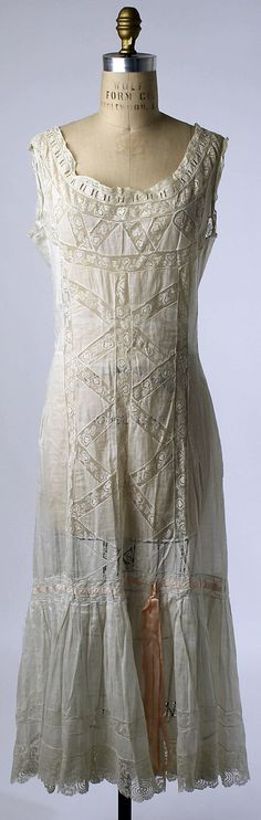 Chemise Date: 1910s Culture: American or European Medium: linen, cotton, silk
