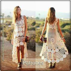 Ideas para el hogar: Vestidos by freda Crochet Shirt, Crochet Lace, Crochet Wedding Dresses, Bohemian Girls, Special Dresses, Crochet Fashion, Beautiful Crochet, Knitting Designs, Crochet Clothes
