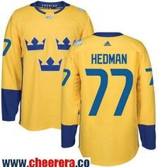 Men's Team Sweden #77 Victor Hedman adidas Yellow 2016 World Cup of Hockey Custom Player Stitched Jersey