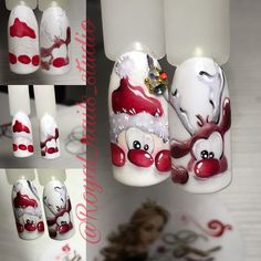 They allow to display a manicure impeccable during several weeks and to play with the form and the length of our nails. Nail Art Noel, Xmas Nail Art, Xmas Nails, New Year's Nails, Christmas Nail Art Designs, Winter Nail Art, Winter Nail Designs, Holiday Nails, Winter Nails