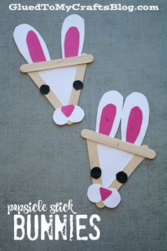 Popsicle Stick Bunnies - Kid Craft - GluedToMyCraftsBlog.com