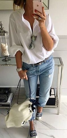 #fall #outfits White Blouse Ripped Jeans