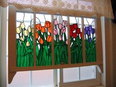 Tulip Stained Glass Wood Frame Panel