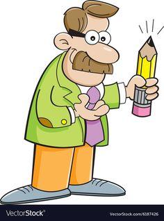 Cartoon teacher holding a pencil vector image on VectorStock Teacher Images, Clipart Gallery, Teacher Cartoon, Adobe Illustrator, Cute Pictures, Vector Free, Hold On, Cartoons, Pencil