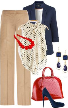 Love the polka dot shirt and red necklace.