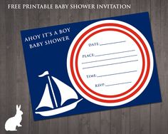 Free Printable Baby Shower Invitation Ahoy Its A Boy Greetings - Nautical baby shower invitations templates