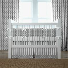 Gray and White Dots and Stripes Crib Bedding | Gender Neutral Grey and White Crib Bedding | Carousel Designs #nursery #baby