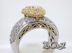 Natural yellow trillion cut diamond