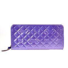 Designer Inspired faux Patten Leather Zipper Wallet. Zipper Entry, Multi Credit Card Holder, Zipper Pocket inside, Includes a wristlet Handle. Approx Dim L:8in H:4in W:1in  wholesale purses; wholesale handbags; wholesale clutches; wholesale wallets
