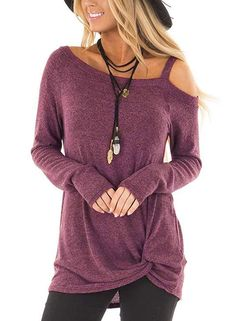 Long Sleeves One Shoulder Twist Knot Front blouse – Inspirational Clothing and Accessories Casual T Shirts, Casual Tops, Comfy Casual, Look Fashion, Fashion Outfits, Street Fashion, Fashion Women, Jeans Fashion, Fashion Night