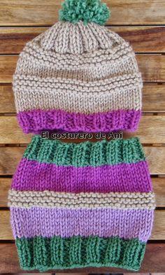 Pronto empezará a hacer más frío, así que lo que toca ahora es tejer prendas de abrigo. Baby Hats Knitting, Knitting For Kids, Loom Knitting, Knitting Stitches, Knitting Designs, Hand Knitting, Knitted Hats, Crochet Baby, Knit Crochet