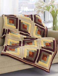 log cabin design afghan - free crochet pattern